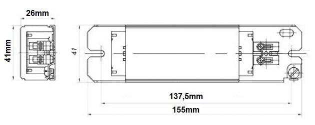 Dimensions ballast fluo 18W/36W