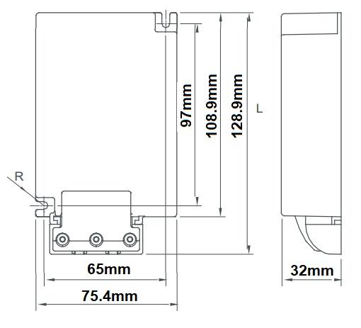 Dimensions ballast électronique iodure 35-70W