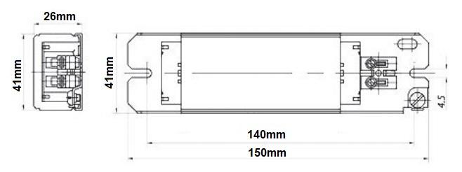 Dimensions ballast fluo 30W