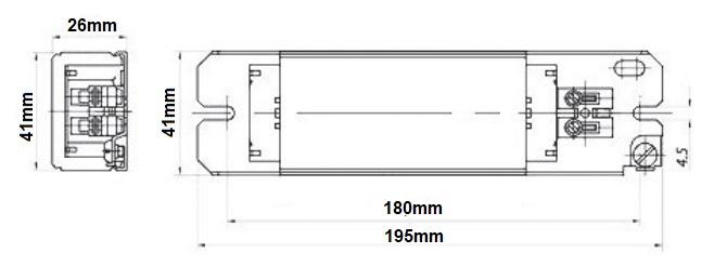 Dimensions ballast fluo 58W